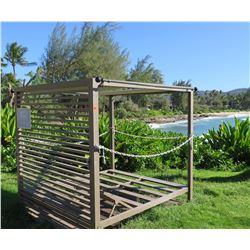 """Pipeline"" Slatted Mini Cabana w/ Sliding Top Shade Panels 79"" x 79"" x 77"" (metal or aluminum)"