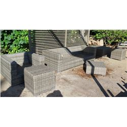 Outdoor Woven Patio Furniture: Sofa, Chair, Coffee Table, Side Tables & Ottoman (synthetic material)