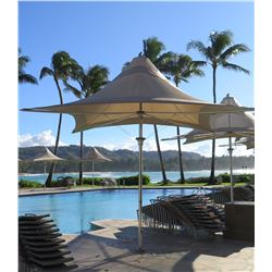 """Large Tuuci Collapsible 4-Spoke Umbrella 161"""" Tall, Approx. 216"""" Across Tall (missing crank to open"""