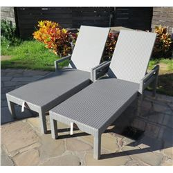 """Qty 2 Gray Loungers, Woven Synthetic Material 80"""" x 29.5"""" x 21""""H"""