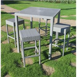 """Square Gray Bar-Height Table 36""""x36""""x43""""H & 4 Stools, Woven Synthetic Material (No Plexiglass Top)"""