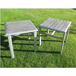 "Qty 2 Square Aluminum Outdoor Side Tables 18""x18""x18""H"