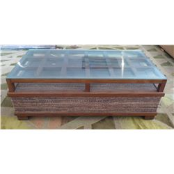 "Wooden Rectangular Coffee Table w/ Glass Top & Woven Base 50"" x 27""D x 17""H"