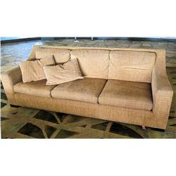 """Beige/Tan Sofa w/ Cushions & 3 Pillows 96"""" x 34""""D x 34""""H"""