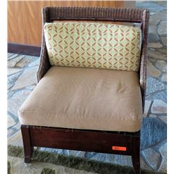 "Wooden Chair w/ Woven Backrest & Back Cushion 30"" x 28""D x 35""H"