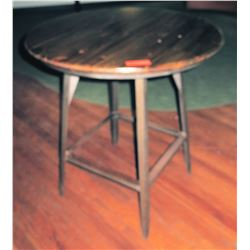 Round Metal Table w/ Wooden Top
