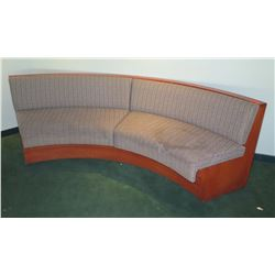 Curved 2-Section Upholstered Settee w/ Wooden Frame