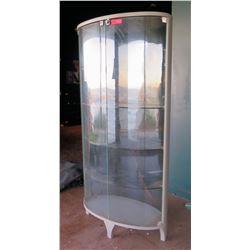 Tall Oval Glass Display Shelf Cabinet