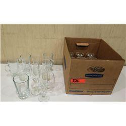 Box Misc Glassware: Wine Glasses, Champagne Flutes, Steins, Tea Glasses