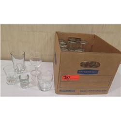 Box Misc Glassware: Wine Glasses, Tea Glasses, Shotglass etc
