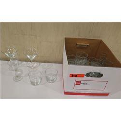 Box Misc Glassware: Wine Glasses, Martini & Short Highball Glasses