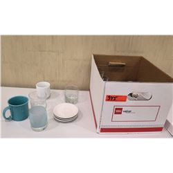 Box Misc Dishes & Glassware:  Saucers, Mugs, Glasses, etc