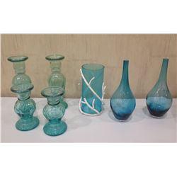 Qty 7 Aqua Glass Vases