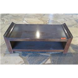 "Rectangular Wooden Coffee Table w/ Raised Edges & Undershelf 48"" x 22"" x 17""H 48"" x 22"" x 17""H"