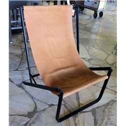 Folding Leather Sling Chair w/ Black Metal Frame