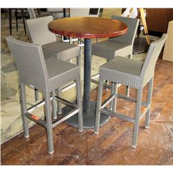 Round Wood Pedestal Table & 4 Gray Woven Synthetic Bar-Height Chairs