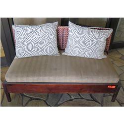 Wood Bench w/ Seat Cushion, Woven Backrest & 2 Decorative Pillows