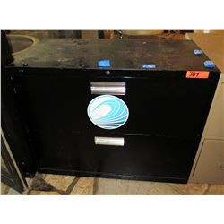 Black Metal Lateral 2-Drawer File Cabinet
