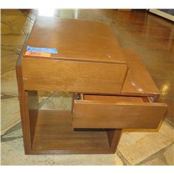 """Wood End Table w/ Offset Drawers 25""""x24""""x18""""H"""