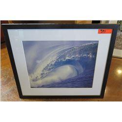 Framed & Matted Wave Art: Large Breaking Wave