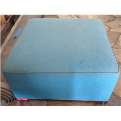 "Blue Upholstered Ottoman w/ Wood Base 31.5""x31.5""x16.5"""