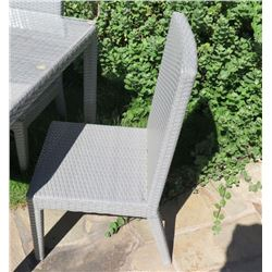 Qty 4 Gray Chairs, Woven Synthetic Material, Normal Ht (table in picture is NOT INCLUDED)