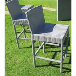 Qty 4 Gray Bar-Height Chairs, Woven Synthetic Material (table in picture is NOT INCLUDED)