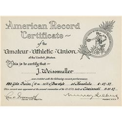 Johnny Weissmuller (11) official athletic record certificates and Olympics ephemera.