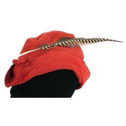 Alan Hale 'Little John' signature red suede hat from The Adventures of Robin Hood.