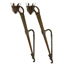 Pair of wall torches from Margaret Hamilton 'Wicked Witch's' castle from The Wizard of Oz.