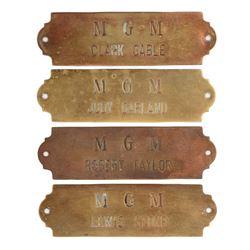 Metro-Goldwyn-Mayer studios (4) brass dressing room plaques for Judy Garland, Clark Gable & others.