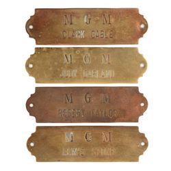Metro-Goldwyn-Mayer studios (4) brass dressing room plaques for Judy Garland, Clark Gable & others.