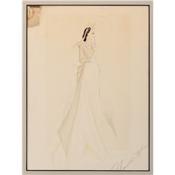 Walter Plunkett costume sketch of Vivien Leigh as 'Scarlett O'Hara' from Gone With the Wind.