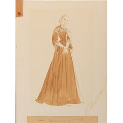 Walter Plunkett costume sketch of Evelyn Keyes as 'Suellen' from Gone With the Wind.