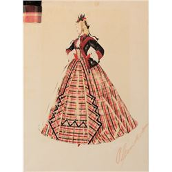 Walter Plunkett costume sketch of Isabel Jewell as 'Emmy Slattery' from Gone With the Wind.