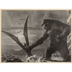 Merian C. Cooper oversize print of King Kong artwork by Byron Crabbe signed and inscribed by Cooper.