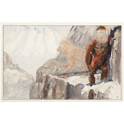 Original Willis O'Brien concept art for Baboon: A Tale About a Yeti.