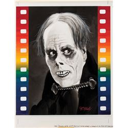 Tom McNeely original published artwork of Lon Chaney as 'The Phantom' for USPS First Day of Issue.