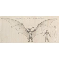 Ray Harryhausen pencil study of a Pteranodon for Valley of the Gwangi.