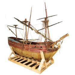 Robert Newton 'Blackbeard' pirate ship filming miniature from Blackbeard, the Pirate.