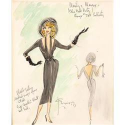 Marilyn Monroe original costume sketch by Charles LeMaire.