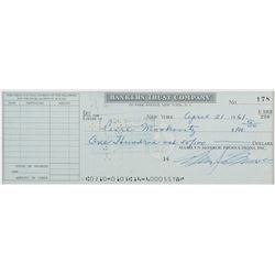Marilyn Monroe signed bank check.