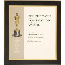 Rod Steiger 'Best Actor' Academy Award nomination plaque for The Pawnbroker.