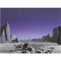 Ralph McQuarrie 'Vipers on Planet Carillon' production artwork from Battlestar Gallactica.