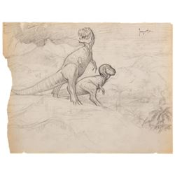 Frank Frazetta (2) signed T-Rex preliminary pencil sketches.
