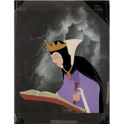 'Evil Queen' production cel on Courvoisier background from Snow White and the Seven Dwarfs.