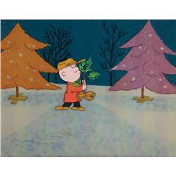 'Charlie Brown' with Christmas Tree production cel from Charlie Brown's Christmas.