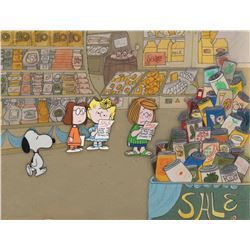 'Snoopy', 'Sally', 'Peppermint Patty', and 'Marcie' production cels on matching production backgroun