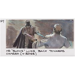 Original Roy Carnon two color storyboard panels of Vader vs. Luke battle from Return of the Jedi.