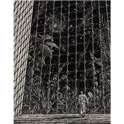 Original artwork of Incredible Shrinking Man for Cinefantastique magazine interior.